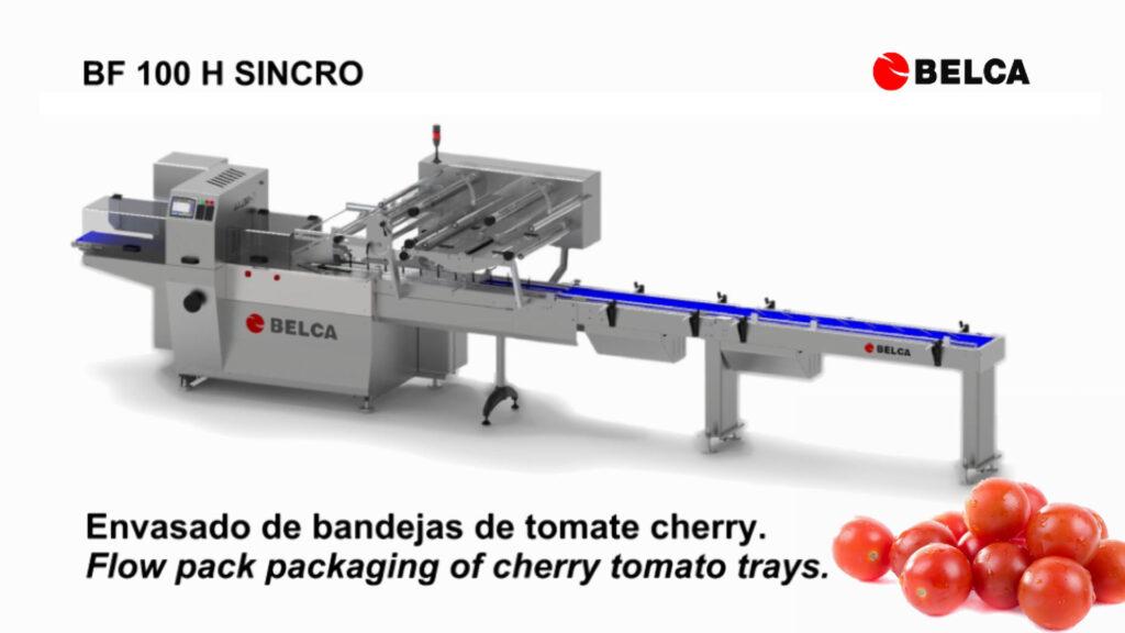 Flow-pack tomate cherry en bandeja